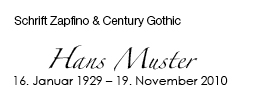 Zapfino & Century Gothic
